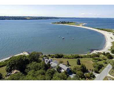 This is Fogland Beach, a small peninsula in the middle of Sakonnet Bay in Tiverton, Rhode Island. My house is the one on the far left at the far end of the beach.
