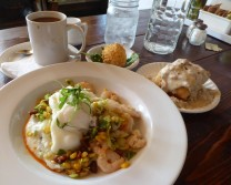 Breakfast at Sassafrass, Denver: shrimp and Grits, biscuit and gravy, and a chicken fried egg!