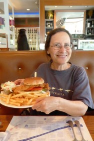 Carol with a fish sandwich the side of her head!