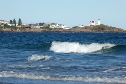 The surf at York Beach and Nubble Lighthouse