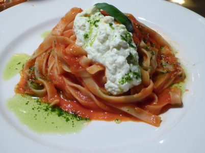 My favorite: Tagliatelle with tomato and fresh ricotta...