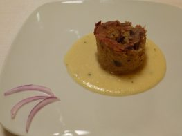 Red onion flan with gorgonzola sauce