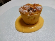 Apple cake with creme anglais