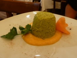 Zucchini flan with carrot sauce