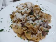 Fettucine with sausage and fennel... let the Parmesan fly!