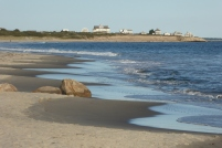 Beach on the border: South Shore Beach, Rhode Island... the houses are in Massachusetts