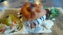 Lunch in Ivalo: a reindeer burger with blue cheese sauce