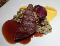 Reindeer Steak... as tender as butter, with mashed sweet potato and mushroom risotto