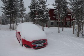My snowed in car, last morning in Lapland
