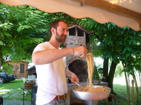 Christian serves up Mamma's seafood pasta