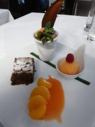 Chocolate mousse, gingerbread brownie, mandarin oranges and sorbet