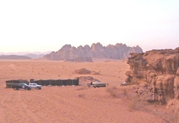 First glimpse of Obeid's Bedouin camp at Wadi Rum