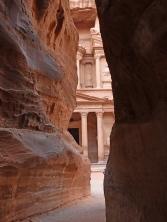 First glimpse of Petra, Jordan