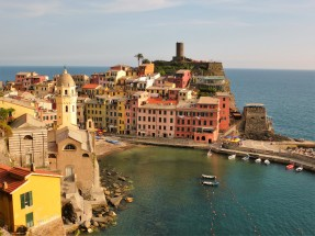 Vernazza, Italy from one of the hiking trails