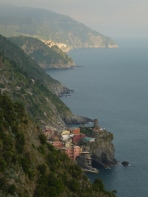 Looking back toward Vernazza and Riomaggiore on the hike back to Monterosso