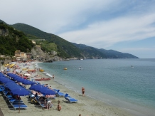 The beach near the harbor in Monterosso