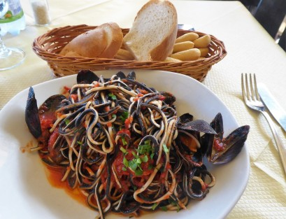 The exotic and tasty black and white pasta with mussels at Belvedere