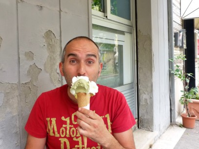My friend Fabio, a true gelato aficionado