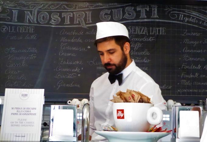 "Choosing your ""gusti"" - flavors - at Freddo, Rome"