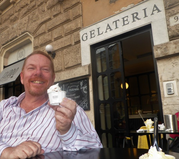 Matteo, pure bliss at Gelateria Freddo, Roma