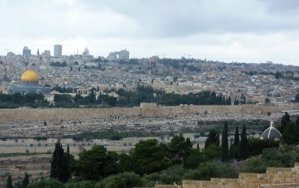 Jerusalem from the Mount of Olives, with Gethsemane in the lower right corner