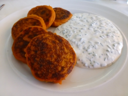 Sweet Potato Pancakes with dill sauce