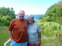 Matt & Lorraine in her beautiful back yard