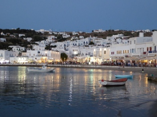 The view of Mykonos Harbor from Captain's and Vegera