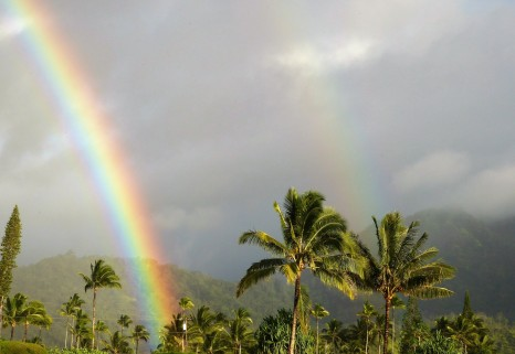 A double rainbow on Kaua'i