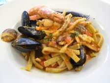 House made pasta with seafood