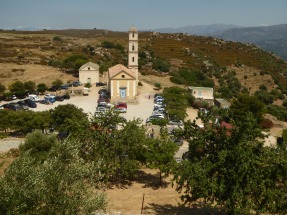 View of the church from the highest point in the village