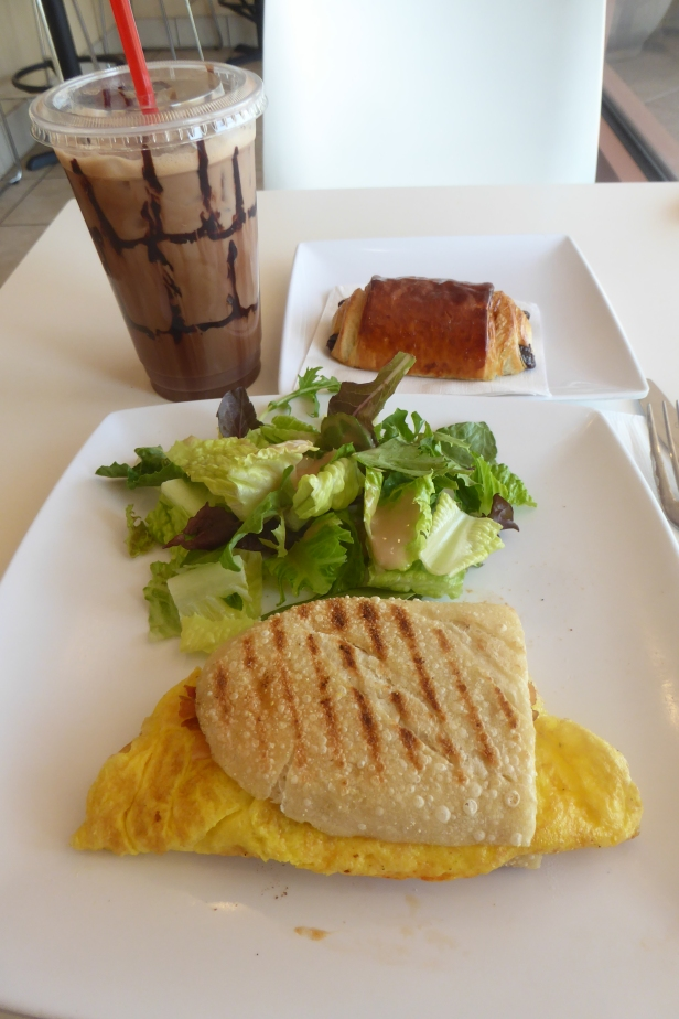 Breakfast and dessert,,, pain au chocolate and the best iced mocha anywhere