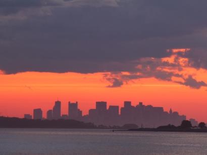 Hazy Summer Skyline in Boston