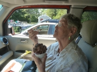 My friend Maggi savors her ice cream at Erickson's in Carver, MA