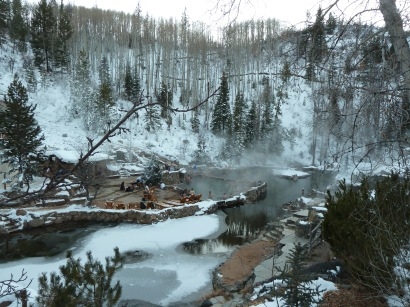 Looking down at Strawberry Hotsprings, Steamboat Springs, COlorado