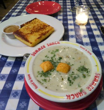 Clam chowder & grilled cornbread at Summer Shack