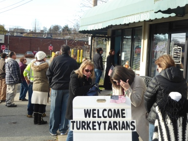 People lined up at 7:45AM to get their pies on the day before Thanksgiving.
