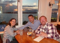 With my friends Carol and Gilles, enjoying the food and the sunset at Boat House