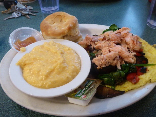 Salmon frittata, sweet potato grits and a biscuit at Brother Juniper's. Memphis