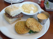 Sausage Biscuit, Sweet Potato Grits and Fried Green Tomatoes at Sassafras