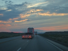 Just me and the truckers at sunset near Price, Utah