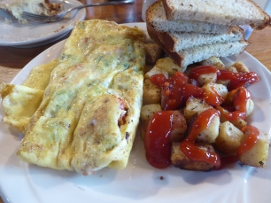 A lobster omelet with broccoli and cheddar: The Barn