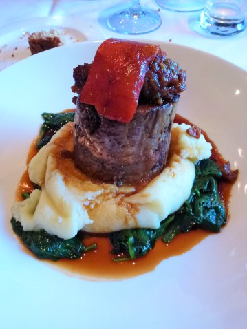 Lamb, mashed potatoes and spinach at Crown Pub