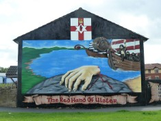Mural featuring the Famous Red Hand, Symbol of Ulster