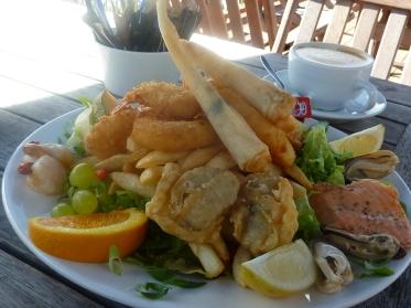 The seafood dinner at Moeraki Cafe