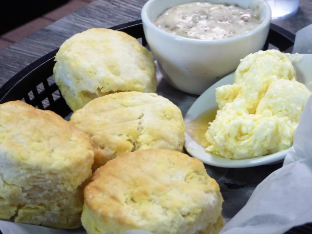 basket o' biscuits with honey butter or sausage gravy