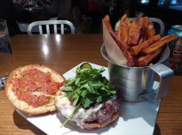 An amazing burger and sweet potato fries