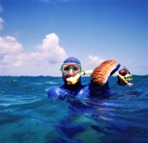 Matt and his baguette-esque sea cucumber