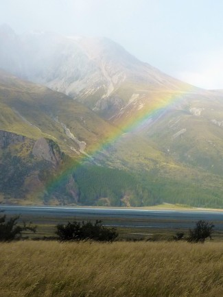 Rainbow near Lake Tekapo