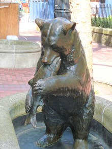 A reminder of Alaska in a Portland fountain